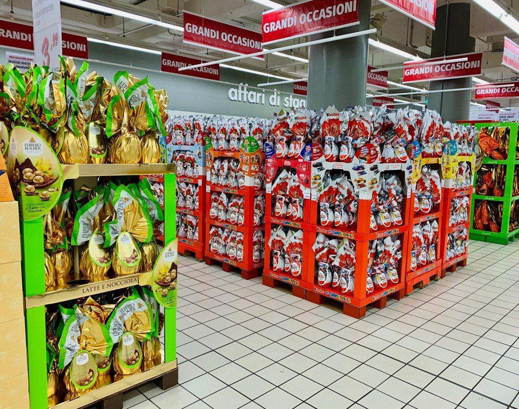 Latina, Italy,  grocery store ready for Easter